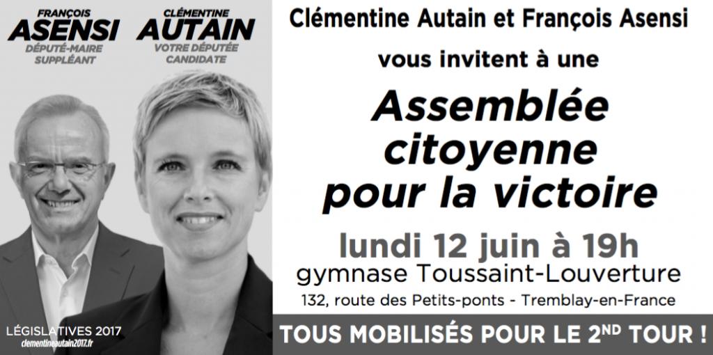 Lundi 12 juin : Assemblée citoyenne pour la victoire