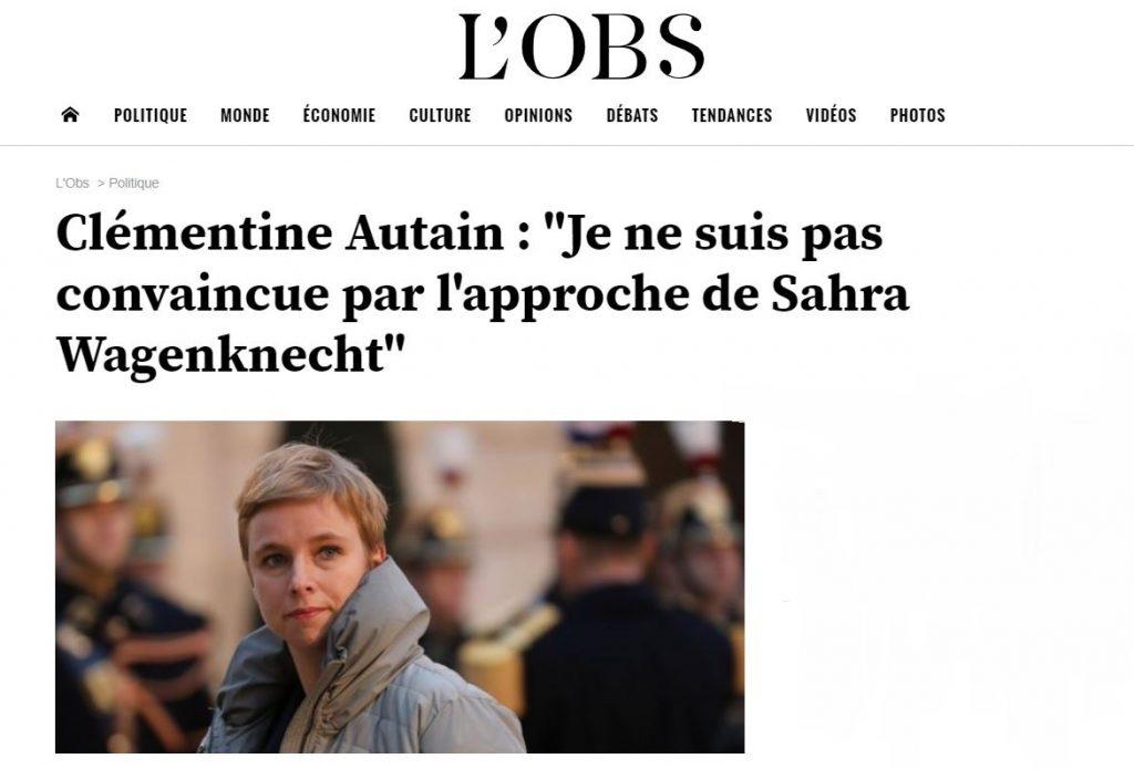 L'Obs – Clémentine Autain : «Je ne suis pas convaincue par l'approche de Sahra Wagenknecht»